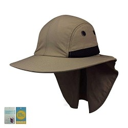 4 Panel Large Bill Flap Hat-KHAKI