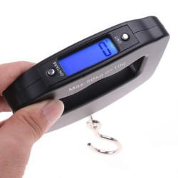 AFUNTA 50Kg 10g LCD Home Electronic Digital Portable Hanging Weight Hook Travel Luggage Scale