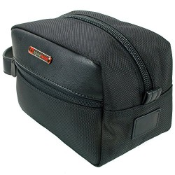 alpine swiss Men's Hudson Travel Toiletry Bag Shaving Dopp Kit, Black, One Size