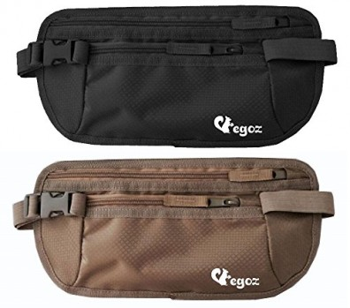 Cashew-By-Egoz-Travel-Gear-Money-Belt-Undercover-Waist-Bag-Pouch-Bag-Secures-Cash-Cards-Passport-Tickets-Mobile-100-Polyester-2-Zip-Pockets-Adjustable-Strap-Side-Clip-Washable-Light-Slim-Comfortable-D-0