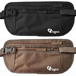 Egoz Travel Money Belt RFID Blocking – Under Clothes Waist Bag – Hidden Security Pouch For Cash Cards Passport Tickets – 2 Zip Pockets Adjustable Strap Side Clip Washable Light Slim Comfort