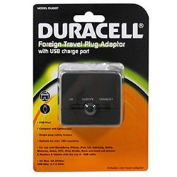 Duracell Foreign Travel Plug Adapter with Usb Charge Port