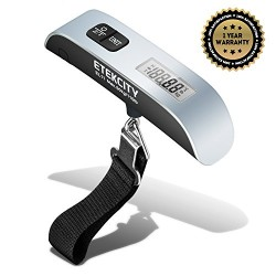 Etekcity Digital Hanging Luggage Scale, Rubber Paint, Temperature Sensor, 110 Pounds, Silver