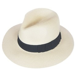 F019 Unisex Straw Fedora Trilby Packable Travel Sun Hat