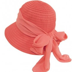 Cute Foldable Cloche Bucket Sun Hat, Ribbon Crusher w/ Sash & Bow, UV Protection