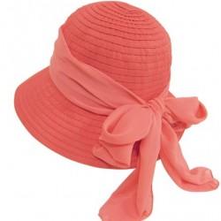 Cute Foldable Cloche Bucket Sun Hat, Ribbon Crusher w/ Sash & Bow, UV Protection