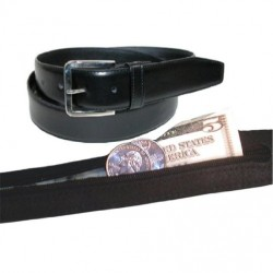 Men's Black Leather Money Belt Sizes 32 through 50