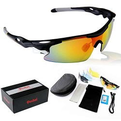 Poshei P04 Polarized Sports Sunglasses with 5 Set Interchangeable Lenses for Biking Fishing Running Driving Golf Baseball