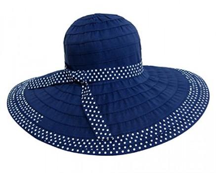Packable-UV-Ribbon-Sun-Hat-w-Wide-Brim-Polka-Dot-Trim-Foldable-SPF-50-0