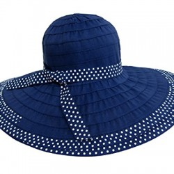Packable UV Ribbon Sun Hat w/ Wide Brim, Polka Dot Trim, Foldable, SPF 50+