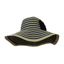 Roll Up Beach Sun Hat w/ Wide Floppy Brim, Foldable w/ Bow, Summer, Gardening