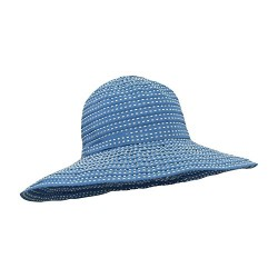 Roll Up UV Ribbon Sun Hat w/ Wide Shapeable Brim, Polka Dot Stitching – SPF 50