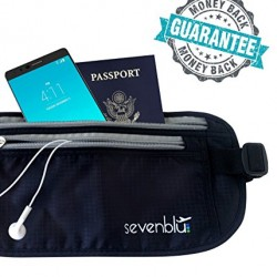 SevenBlu ? #1 RFID Travel Money Belt and Passport Holder ? Fits Big Bills – 365 Days Warranty – Protect Your Cash, Credit Cards, IDs, Document & Phone with this Secret Hidden Waist Pack Bag – Perfect Undercover Wallet Pouch for Men & Women – Great Luggage / Travel Accessory