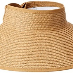 Simplicity Women's Wide Brim Roll-up Straw Sun Visor