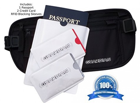 TRAVEL-WALLET-MONEY-BELT-Includes-RFID-Sleeves-2-Credit-Card-and-1-Passport-Water-Resistant-Comfortable-the-Best-Hidden-Undercover-Document-Security-on-the-Market-0