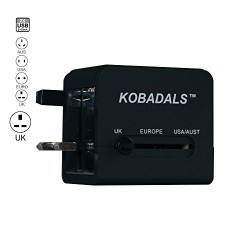 Travel Adapter-Compact International Universal World AC Power Plug Adapter-Powers and charges Smart Phones, iPads, iPods, Tablets, MP3 Players and other USB charged devices in more than 150 countries.