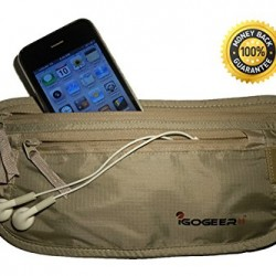 IGOGEER Money Belt Deluxe w/RFID Wallet Travel Wallet Passport Holder Belt Stash