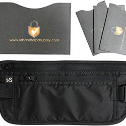 Travel Money Belt – Including 1 RFID Blocking Passport Protector and 3 RFID proof Credit Card Sleeves