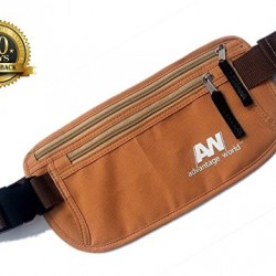 Travel Money Belt. The Undercover Hidden Waist Stash in Khaki with RFID. Sturdy and Secure. Travel Pouch for Holding Phone, Passport, Credit Cards and Cash.